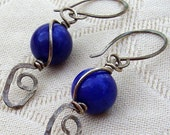 MARKED DOWN Hammered Blueberry Earrings
