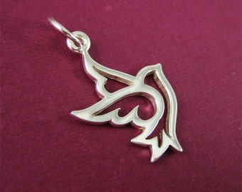 Sterling Silver Peace Bird Dove Charm 2 pcs