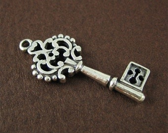 Antiqued Sterling Silver Key Charm Medium Key Pendant