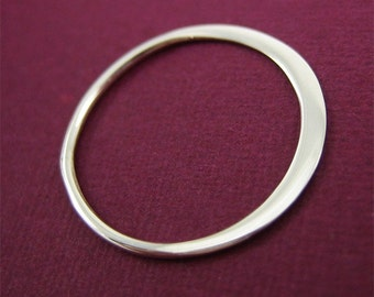 2 pcs Sterling Silver Flattened Ring Link 15mm medium size