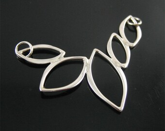 Sterling Silver 5 Marquis Pendant, Silver Marquis Link, Unique Geometric Jewelry Supply