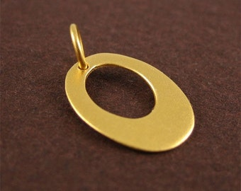 Vermeil Gold Open Oval Charm Unique Jewelry Supply