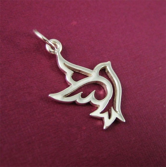 2 pcs - Sterling Silver Peace Bird Charm - small