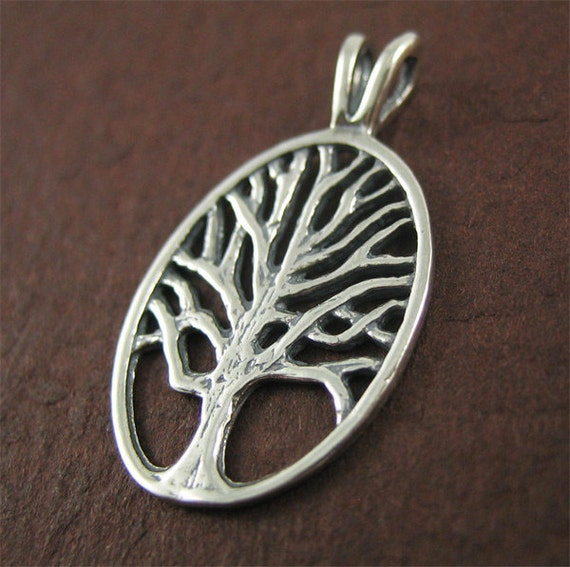 2 pcs --- Antiqued Sterling Silver Oval Tree of Life Charm
