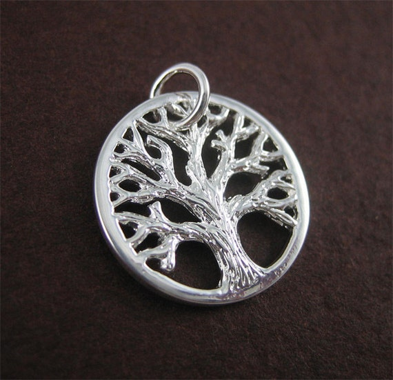 Silver Textured Tree of Life Charm - small