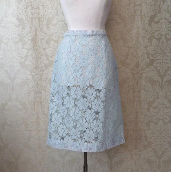 powder blue lace pencil skirt l by hitherandyonvintage on etsy