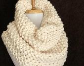 Cream Knit Infinity Scarf Cowl Hood, Knit Scarf, Women's Scarf, Winter Scarf, Original Oversized Chunky Knit Design in Moss Stitch