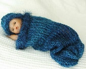 Baby Cocoon Pod and Hat Set in Royal Blue Knit Photo  Propwith Blue Fur Trim