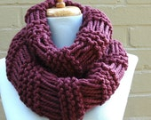 Chunky Scarf, Infinity Scarf, Knit Scarf, Circle Scarf, Women's Scarf, Fig Purple Scarf, Knit Infinity Scarf, Knitted Scarf, Winter Scarf