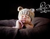 Newborn Baby Bear Hat, Knit Bear Hat, Baby Beanie Hat, Newborn Photo Prop, Vegan Baby Hat, Baby Boy Hat, Baby Girl Hat, Knit Teddy Bear Hat