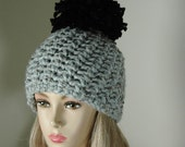 Ready To Ship Chunky Crochet Hat With Large Pom Pom In Gray Marble and Black