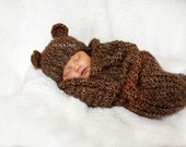 Barley Brown Knit Newborn Baby Cocoon and Bear Hat Set, Newborn Photo Prop for Baby Boy or Baby Girl, Vegan Newborn Outfit