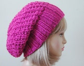 Slouchy Hat, Fuschia Knit Slouchy Beanie, Hot Pink Slouchy Hat, Oversized Beanie, Chunky Hand Knit Hat, Womens Winter Hat, Chunky Reversible