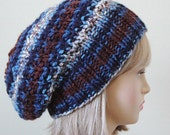 Brown Blue Knit Slouchy Hat, Slouch Hat, Oversized Beanie, Slouchy Beanie Hat, Chunky Knit Hat, Womens Winter Hat - Chunky, Reversible