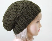 Pine Green Knit Slouchy Beanie Slouch Hat Oversized Beanie Chunky Hand Knit Womens Winter Hat - Chunky Reversible, Woodland Forest