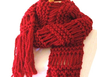 Chunky Scarf, Knit Scarf, Cranberry Red Scarf, Hand Knit Fringe Scarf or Circle Scarf, Women's Scarf, Winter Scarf, Wool Blend Scarf