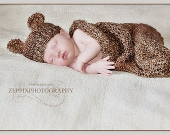 Knit Baby Cocoon and Bear Hat Set in Barley Brown, Newborn Photo Prop for Baby Boy or Baby Girl, Knitted baby Set, Newborn Knitted Set