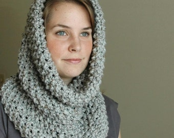Gray Marble Knit Infinity Scarf Cowl Hood, Chunky Scarf Cowl, Women's  Winter Scarf, Oversized Cowl, Knit Scarf, Knitted Scarf,Wool Scarf,