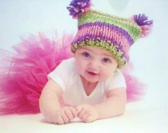 KNITTING PATTERN Baby Jester Hat With Pom Poms - PDF