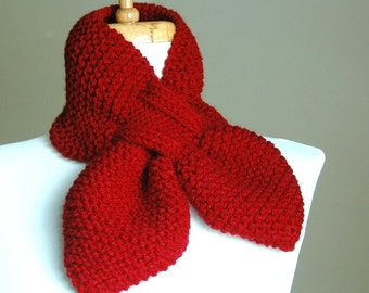 Scarlet Red Knit Scarf, Keyhole Scarf, Knitted Scarf, Women Scarves, Winter Scarf, Original Stay Put Scarf, Pull Through Scarf, Bow Scarf
