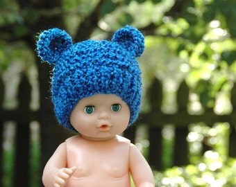 Newborn Blue Bear Hat, Knit Bear Hat, Baby Hat, Newborn Beanie, Newborn Photo Prop, Baby Boy Hat, Baby Girl Hat, Ear Hat, Blue Bear Hat