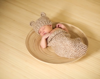 Rococco Brown Knit Baby Bear Hat and Cocoon SET - Newborn Photo Prop for Baby Boy or Baby Girl