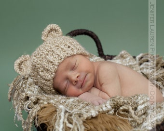 Newborn Baby Bear Hat Knit Bear Hat Baby Hat Beanie Infant Photo Prop - Soft Newborn Photo Prop baby boy hat baby girl hat