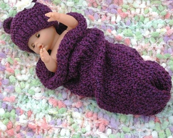 Purple Knit Baby Cocoon and Bear Hat Set, Newborn Photo Prop, Baby Girl Outfit, Baby Boy Outfit, Knitted Bear Hat, Knitted Baby Cocoon Vegan