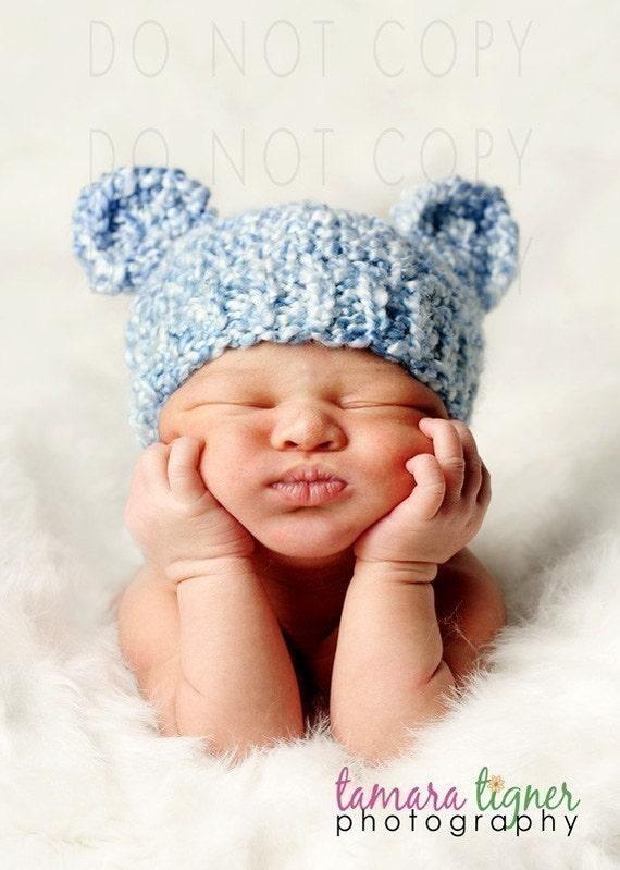 Newborn Baby Bear Hat, Knit Bear Hat, Blue Baby Hat, Newborn Beanie Hat, Newborn Photo Prop, Baby Boy Hat, Baby Girl Hat, Vegan Newborn Hat