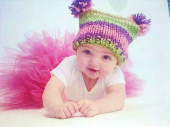 KNITTING PATTERN Baby Jester Hat With Pom Poms PDF