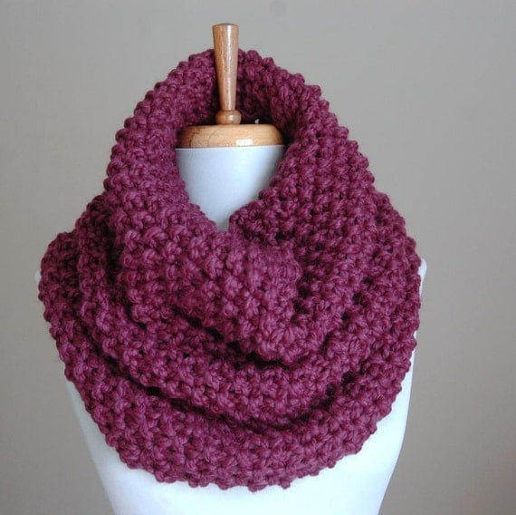 Purple Fig Chunky Scarf Cowl, Knit Infinity Scarf Cowl Hood, Oversized Cowl, Women's Scarf, Winter Scarf, Chunky Knit Design in Moss Stitch