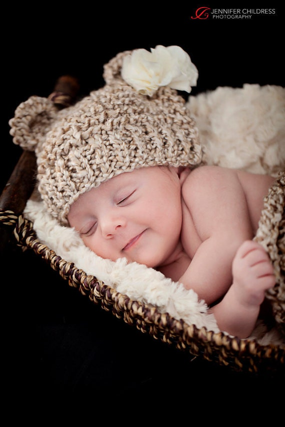 Newborn Baby Bear Hat, Knit Bear Hat, Baby Hat, Baby Beanie, Knitted Bear Hat, Newborn Photo Prop, baby boy hat, baby girl hat, Vegan  Hat