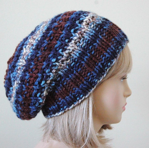 Brown Blue Knit Slouchy Hat, Slouchy Hat, Oversized Beanie, Slouchy Beanie Hat, Chunky Knit Hat, Womens Winter Hat - Chunky, Reversible