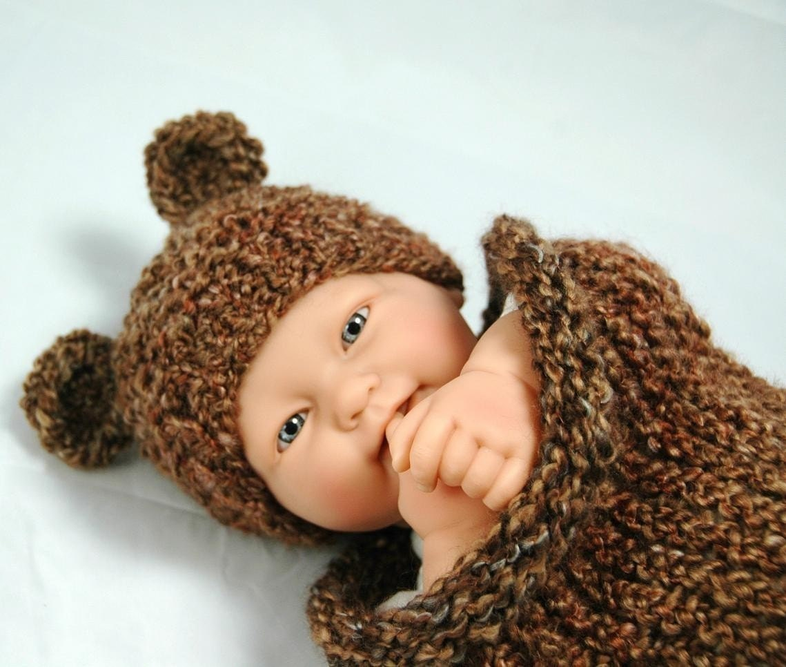 Knitting Pattern Baby Hat Bear : KNITTING PATTERN ONLY Infant Tiny Bear Hat