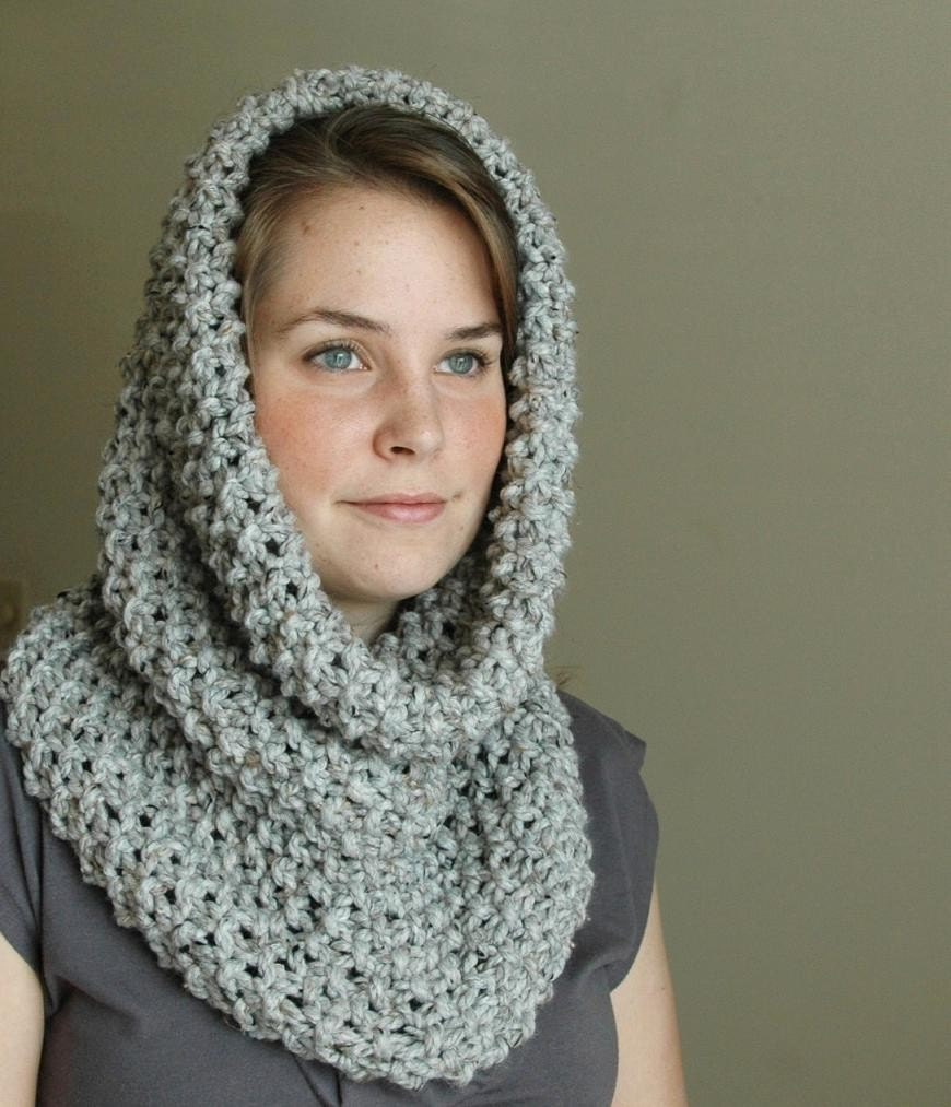 Knitting Pattern Cowl Hood : Gray Marble Knit Infinity Scarf Cowl Hood Chunky Scarf Cowl