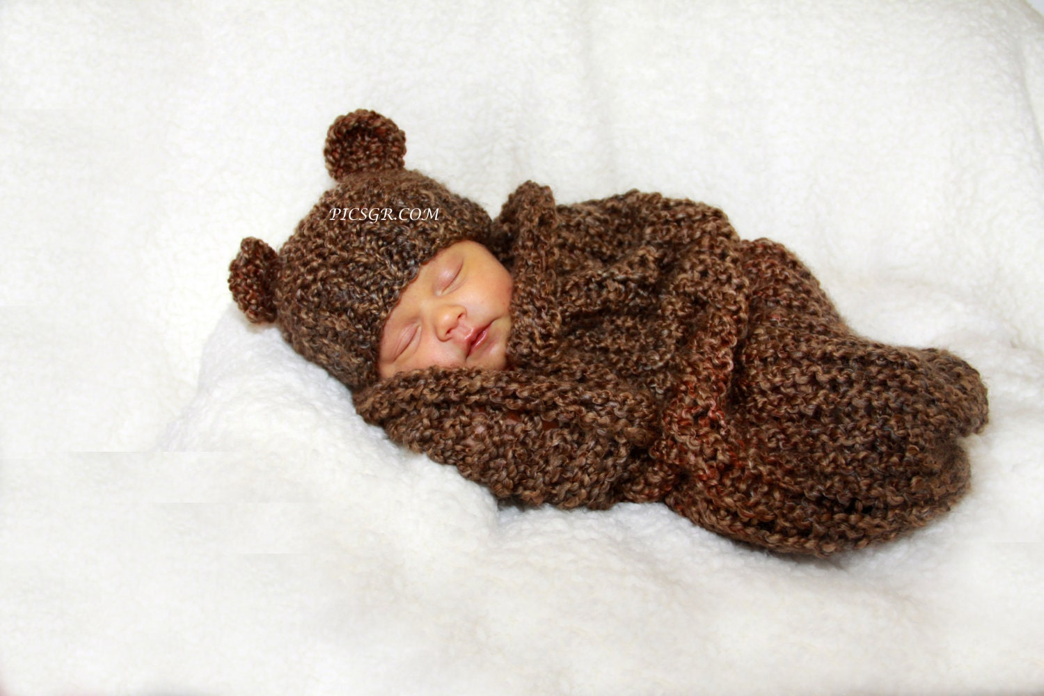 Barley Brown Knit Newborn Baby Cocoon and Bear Hat Set