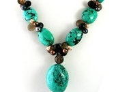 Turquoise, Pearl, and Onyx Necklace with Smokey Quartz Briolettes