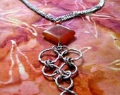 Carnelian, Chain Link Pendant Necklace