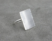 Sterling Silver Rectangle Shield Ring