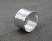 Wide Silver Band - Rustic Faceted Ring- 334