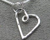 Sterling Silver Necklace Hammered Heart