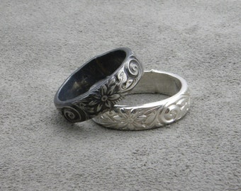 Wedding Bands - His and Hers Sterling Flower Bands