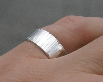 Wide Silver Ring - Grooved Band - Bumpy road