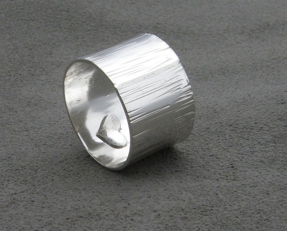 Sterling Silver Ring- Grooved with Heart- Bumpy Road Hidden Love