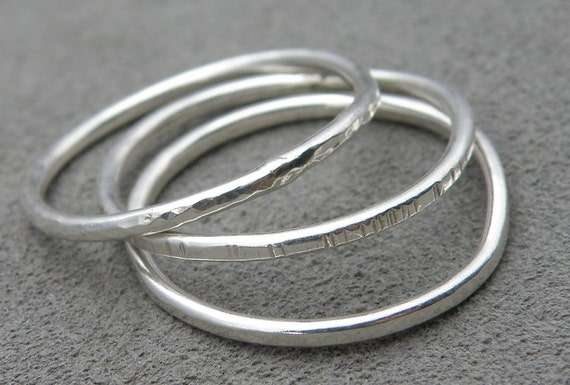 Three Sterling Silver Stacking Rings