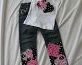 Custom Boutique Punk Princess Pink Skull Deco Jean Set