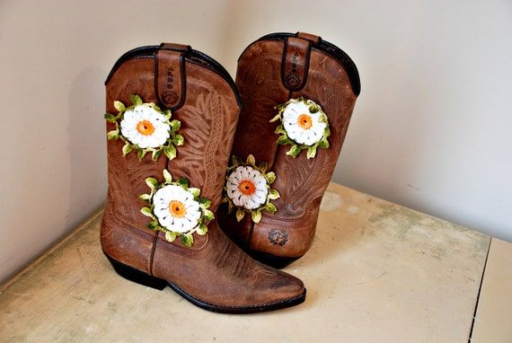 Miley. inspired by summer romances & wind blown hair. boho cowboy boots vintage size 7.5 ON HOLD FOR Cassandra Hargin