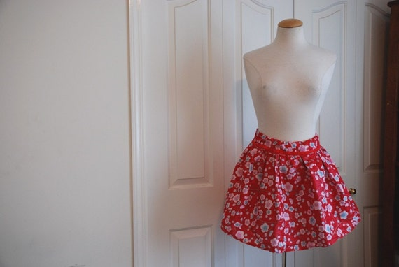 FREE SHIPPING A trip to Japan. Vintage style high waisted cherry blossom skirt.
