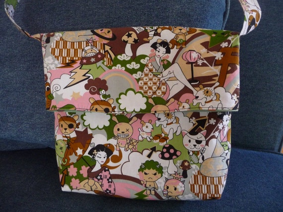 Messenger fold over shoulder bag purse tote Asian