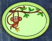 Personalized Handpainted Monkey Oval Door Sign For Children's Room